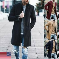 2019 New Fashion Men's Wool Coat Winter Trench Coat Outwear