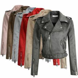 2019 Women Suede Faux Leather Jackets Lady Motorcycle Coat B