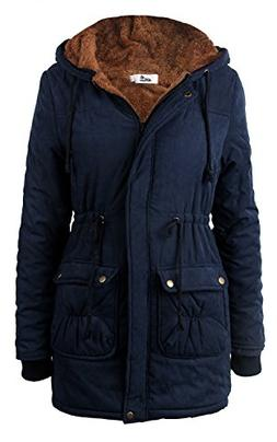 4HOW Women Parka Jacket Military Faux Fur Lined Winter Coat