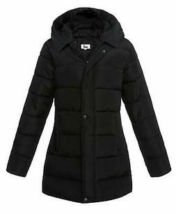 4How Womens Hooded Puffer Jackets Winter Coats Mid Length Qu