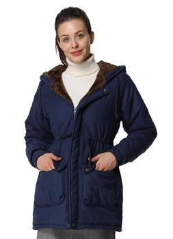 4HOW Womens Hooded Warm Parkas Jacket Lined Faux Fur Militar