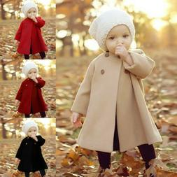6M-5T Autumn Winter Girls Kid Baby Outwear Cloak Button Jack