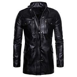 AOWOFS Men's Fashion Long Faux Leather Jacket Casual Stand C