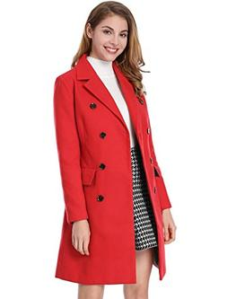 Allegra K Women's Notched Lapel Double Breasted Trench Coat