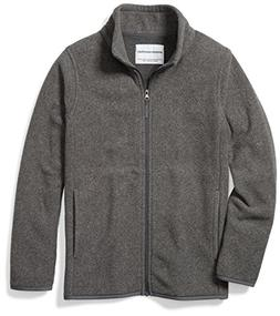 Amazon Essentials Boys' Full-Zip Polar Fleece Jacket, Grey C