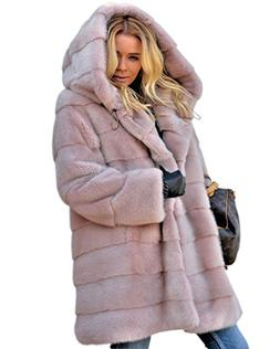 Aofur New Womens Thick Faux Fur Big Hooded Parka Long Overca