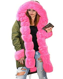 Aofur Sexy Ladies Pink Faux Fur Parka Hooded Trench Coat Win