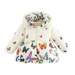 BOBORA Baby Girl Butterfly Pattern Coat Winter Warm Hoodie D
