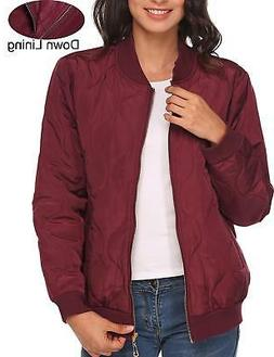 Beyove Women's Casual Padded Zipper Short Bomber Coat Outwea