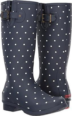Chooka Women's Tall Memory Foam Rain Boot, Dot Blanc Navy, 7