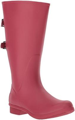 Chooka Women's Wide Calf Memory Foam Rain Boot, Raspberry, 9
