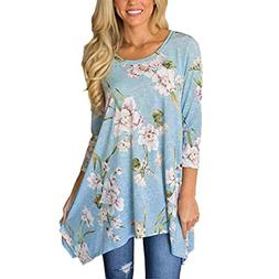 Clearance women tops, LuluZanm ladies Loose tops Flowers Col