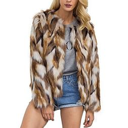 Comeon Womens Winter Warm Colorful Faux Fur Coat Chic Hooded