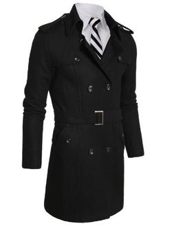 Doublju Mens Wool Coat with Belt BLACK