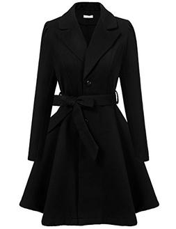 Zeagoo Women Casual Winter Trench Coat Lapel Wrap Swing Wool