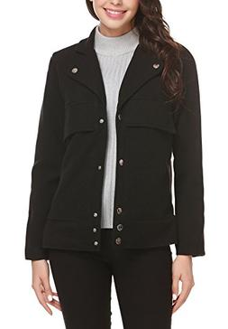 Easther Women's Wool Jacket Double Breasted Overcoat Long Sl