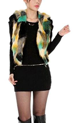 Enlishop Women V Neck Short Colorful Cropped Jacket Faux Fur