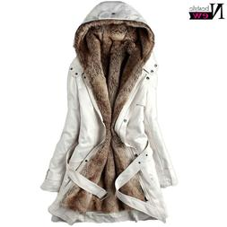 Fashion Women's Winter Faux Fur Lining Coats Warm Long Jacke