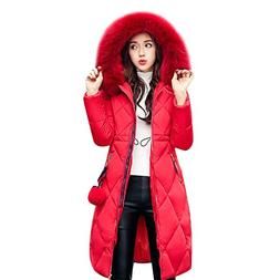 Gamery Women Winter Long Parkas Coat Jackets With Faux Fur H