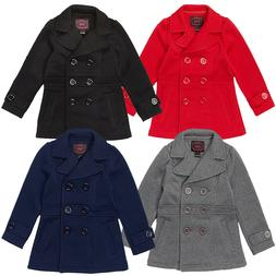 Girls Winter Pea Coat, Dress Coat, Red, Navy Blue,Gray, Blac