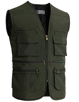 H2H Mens Winter Cotton Leisure Outdoor Plus Size Fish Vest K