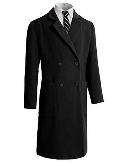 H2H Mens Winter Double Breasted Pea Coat Long Jacket Black U