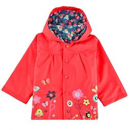 Halife Kids Toddler Girls Red Hooded Rain Jacket Flower Rain
