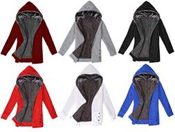 Halife Women's Fall Winter Zip up Fleece Hoodie Coat Hooded
