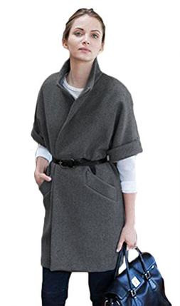 Halife Women's Half Sleeve Thick Wool Trench Coat Cocoon Coa