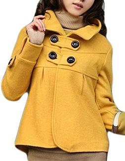 Halife Women's Long Sleeve Stand Collor Button Woolen Blend