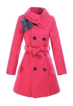 Halife Teen Girls' Winter Wool Coat Jacket Double-breasted L