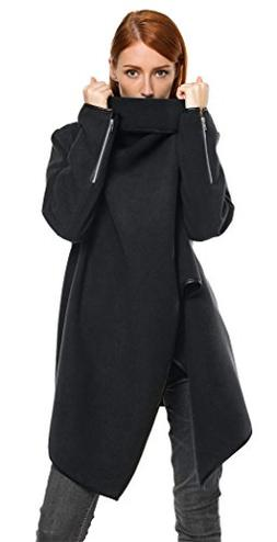 Halife Women's Wool Asymmetrical Drape Trench Coat Outerwear