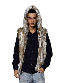 Idopy Men`s Luxury Faux Fur Hoodie Coats Sleeveless Jacket V