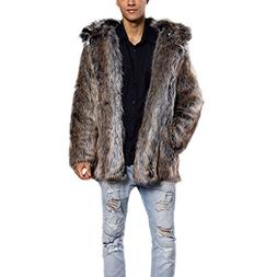 JTENGYAO Men's Faux Fur Coat Hooded Overcoat Thick Outerwear