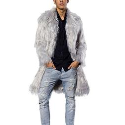 JTENGYAO Men's Faux Fur Coat Long Overcoat Outerwear Winter