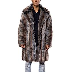 JTENGYAO Men's Faux Fur Long Coat Lapel Overcoat Thick Outer
