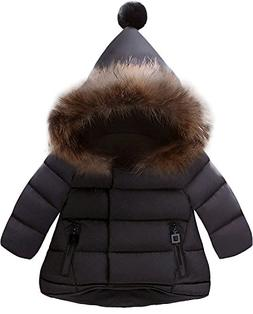 Jojobaby Baby Boys Girls Hooded Snowsuit Winter Warm Fur Col