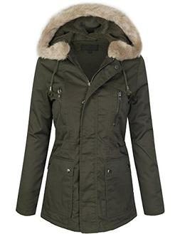 KOGMO Womens Zip Up Utility Jacket Coat With Faux Fur Lining