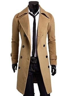 Kalanman Men's Winter Slim Double Breasted Overcoat Long Tre