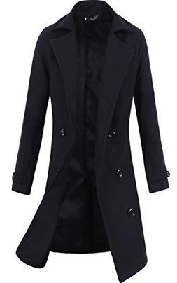 Lende Men's Trench Coat Winter Long Jacket Double Breasted