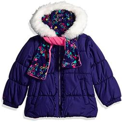 London Fog Toddler Girls' Winter Coat with Hat and Scarf, De