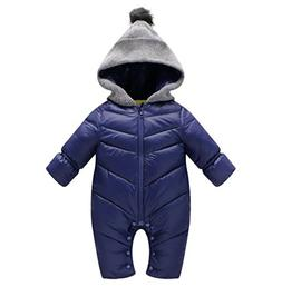 MNLYBABY Unisex Baby Hooded Puffer Jacket Jumpsuit Winter Wa