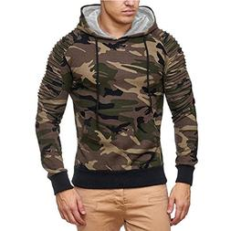 Mens' Sweatshirt,Casual Pullover Long Sleeve Camouflage Patc