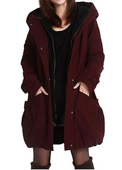 Minibee Women's Winter Outwear Hoodie Coat Big Pockets Wine