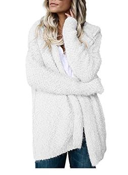 Mintsnow Womens Fuzzy Open Front Hooded Cardigan Jacket Coat