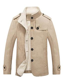 Mordenmiss Men's Stand Collar Sherpa Jacket Military Winderb