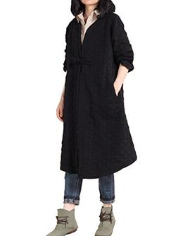 Mordenmiss Women's Long Sleeve One Button Trench Coat Black,