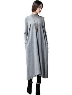 Mordenmiss Women's New High-Necked Wool Knit Dress Style 1 M