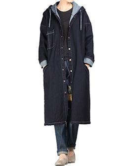 Mordenmiss Women's Snap Button-up Long Hoodie Coat L Style 2