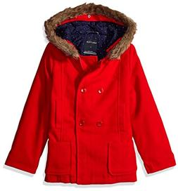 Nautica Little Girls Wool-Feel Peacoat with Faux Fur Trim, R